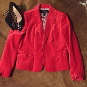 Crushed velvet RED jacket Sz 6 by apostrophe